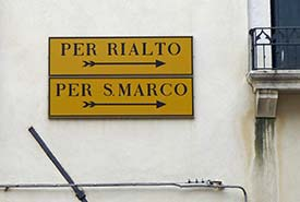 Sign for Rialto and San Marco