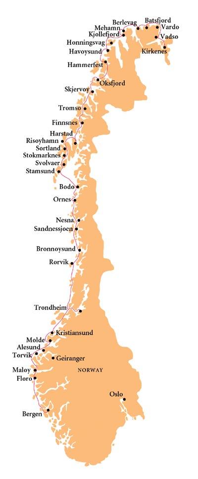 Norwegian Coastal Voyage Route Map Hurtigruten